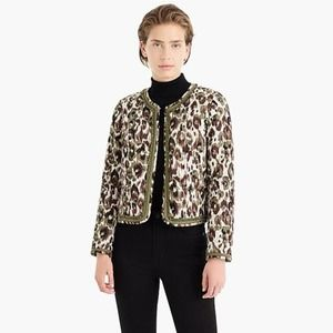 J. Crew Quilted Lady Jacket in Autumn Cheetah Sz M